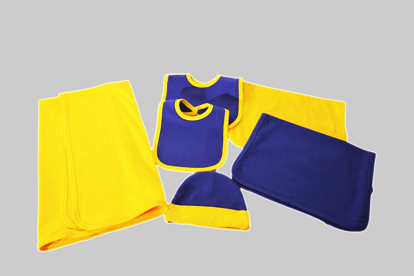 purple & gold baby set. blanket, burp cloth baby cap