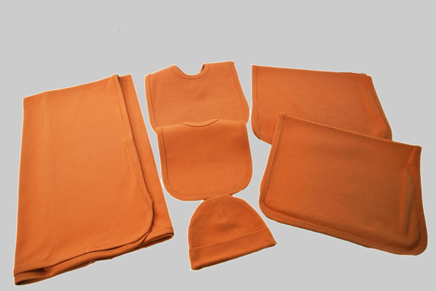 burnt Orange color baby bib, burp cloth & receiving blanket