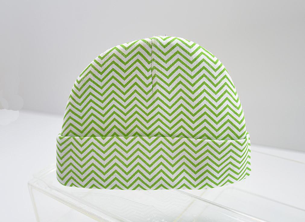 Baby Cap Green Chevron Print