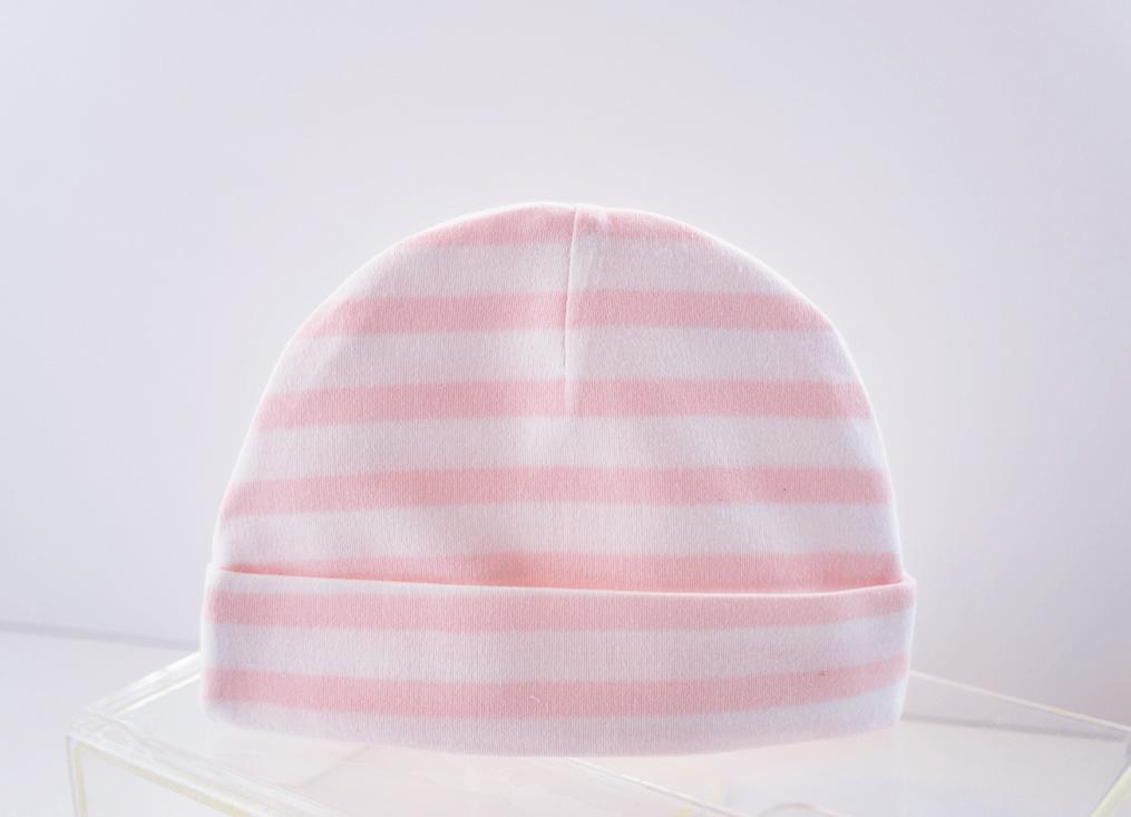baby cap soft pink color stripes