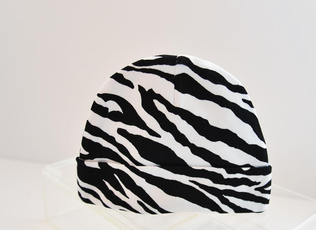 baby cap, black zebra prints