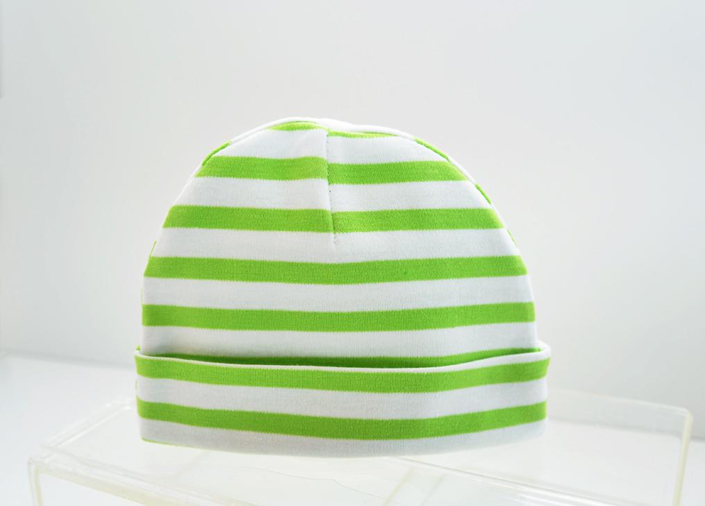 baby cap green stripes