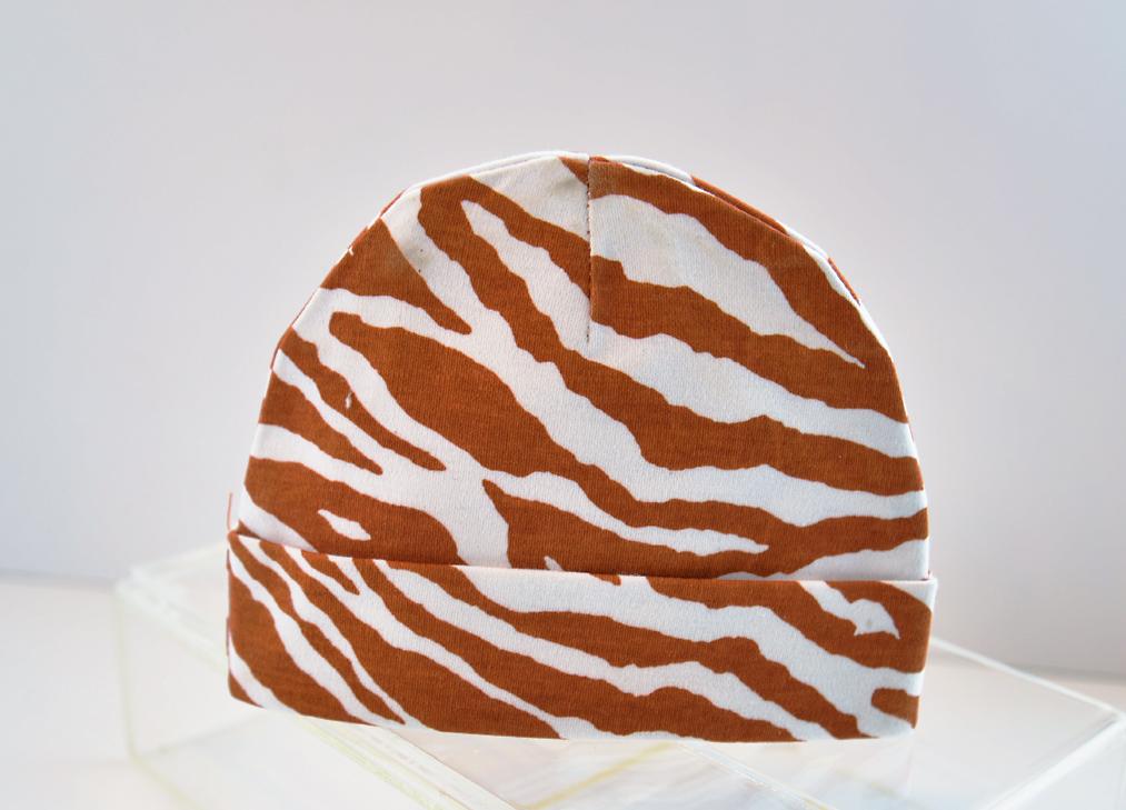 baby cap burnt orange zebra print