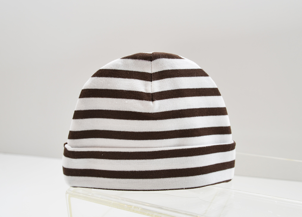 baby cap brown stripes