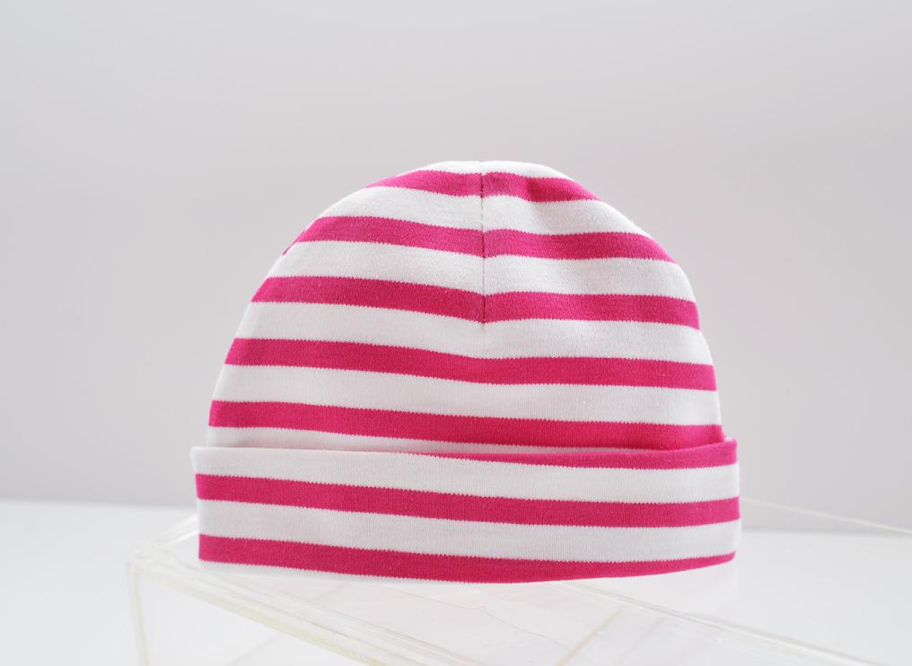 baby cap fuchsia rose color stripes