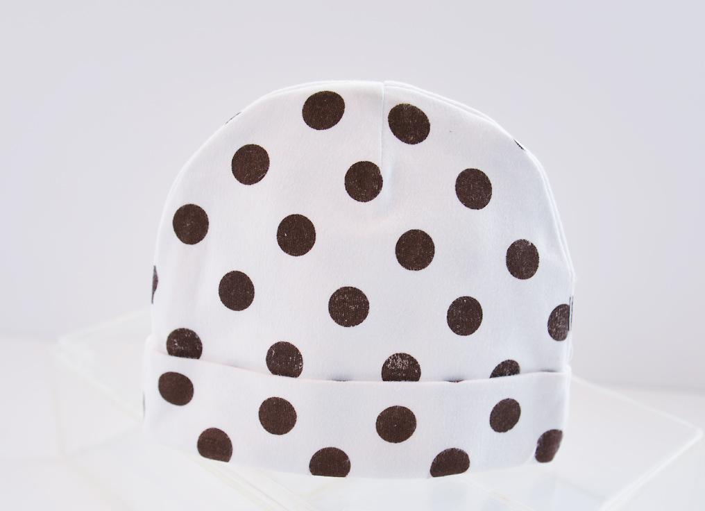 baby cap brown polka dots