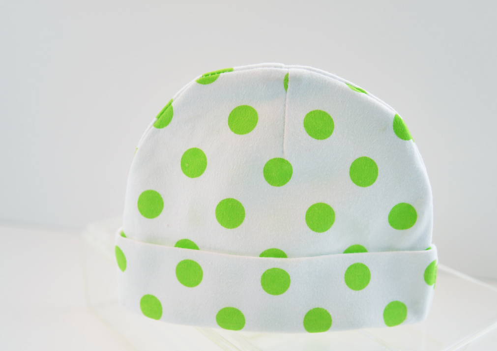 baby cap green polka dots