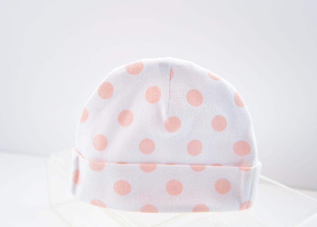 baby cap peach color dots