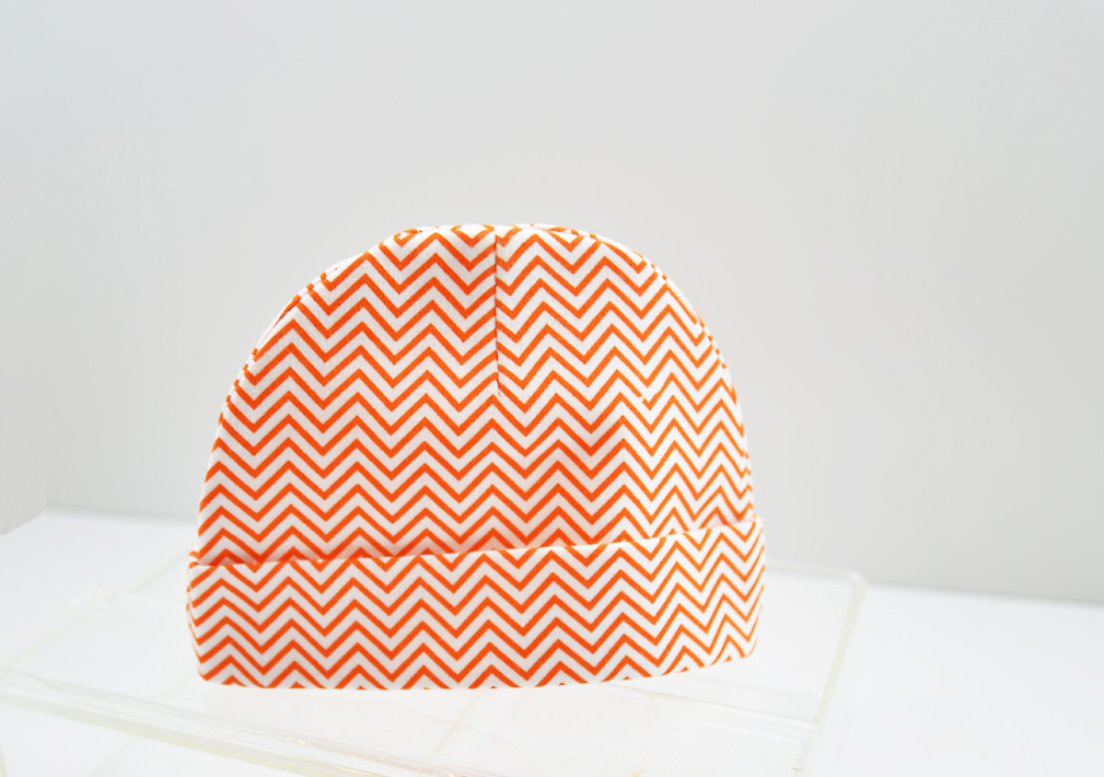 baby cap, orange color chevron prints