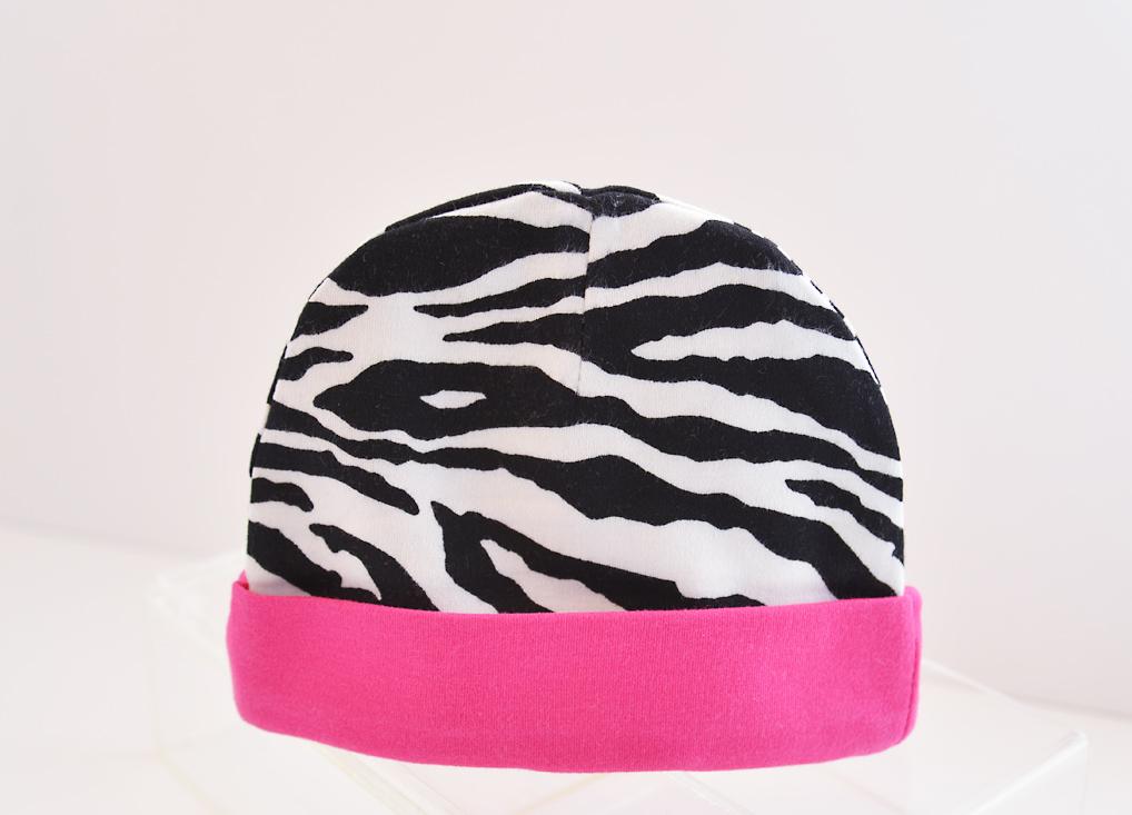 baby cap zebra with fuchsia trims
