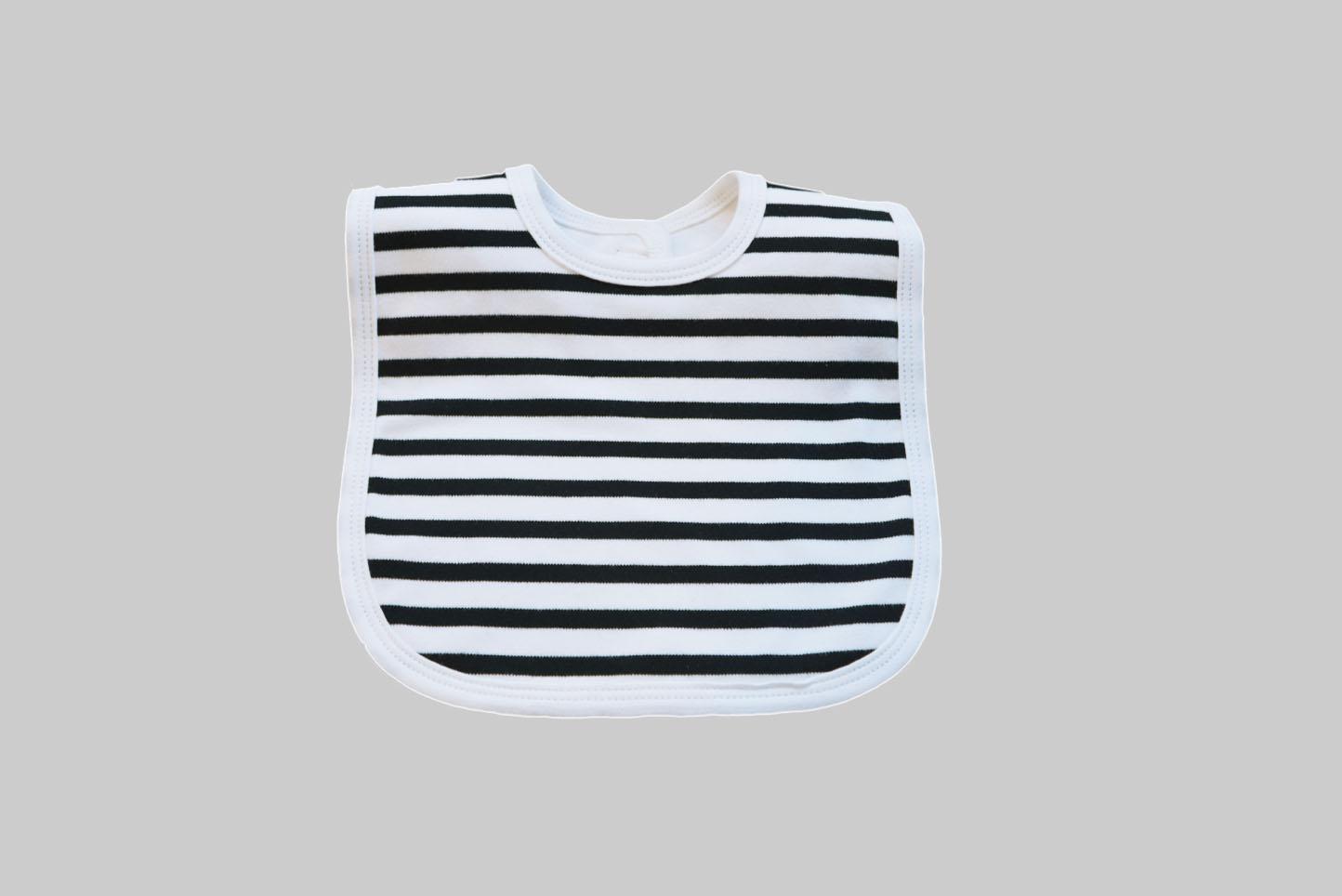 Woven Black Stripes Baby Bib