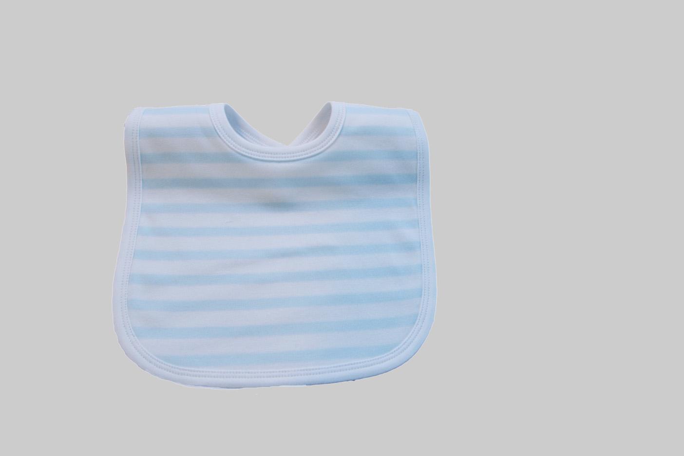 Woven Baby Blue Stripes Bib