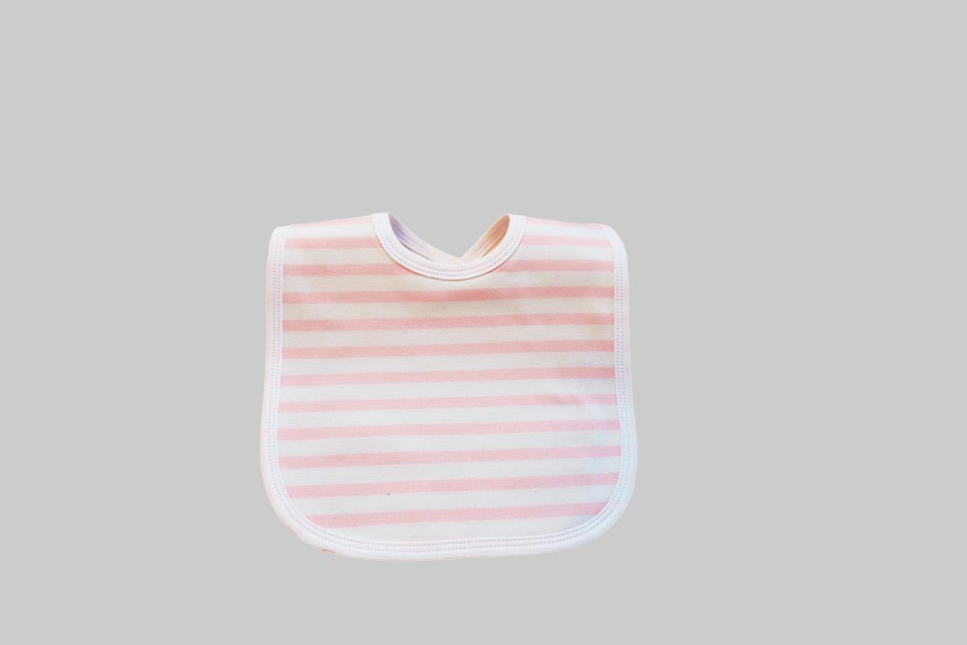 Woven Light Pink Stripes Baby Bib