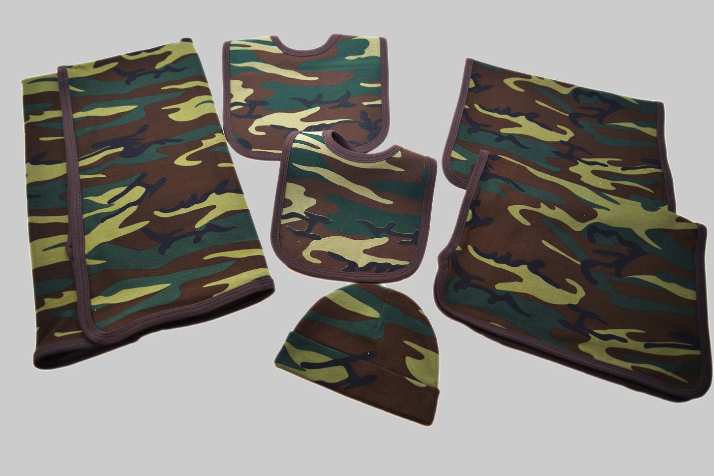 Camo Burp Cloth, receiving blanket, baby cap