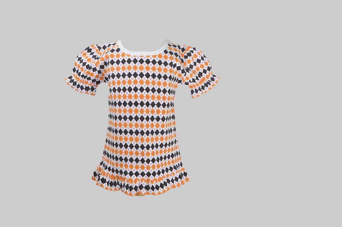black & orange argy;e toddler ruffle shirt