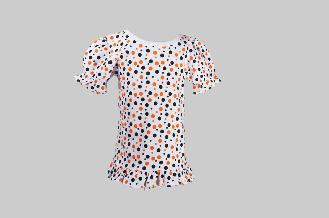 Black Ornage Polka Dots Toddler Girl Ruffle T Shirt
