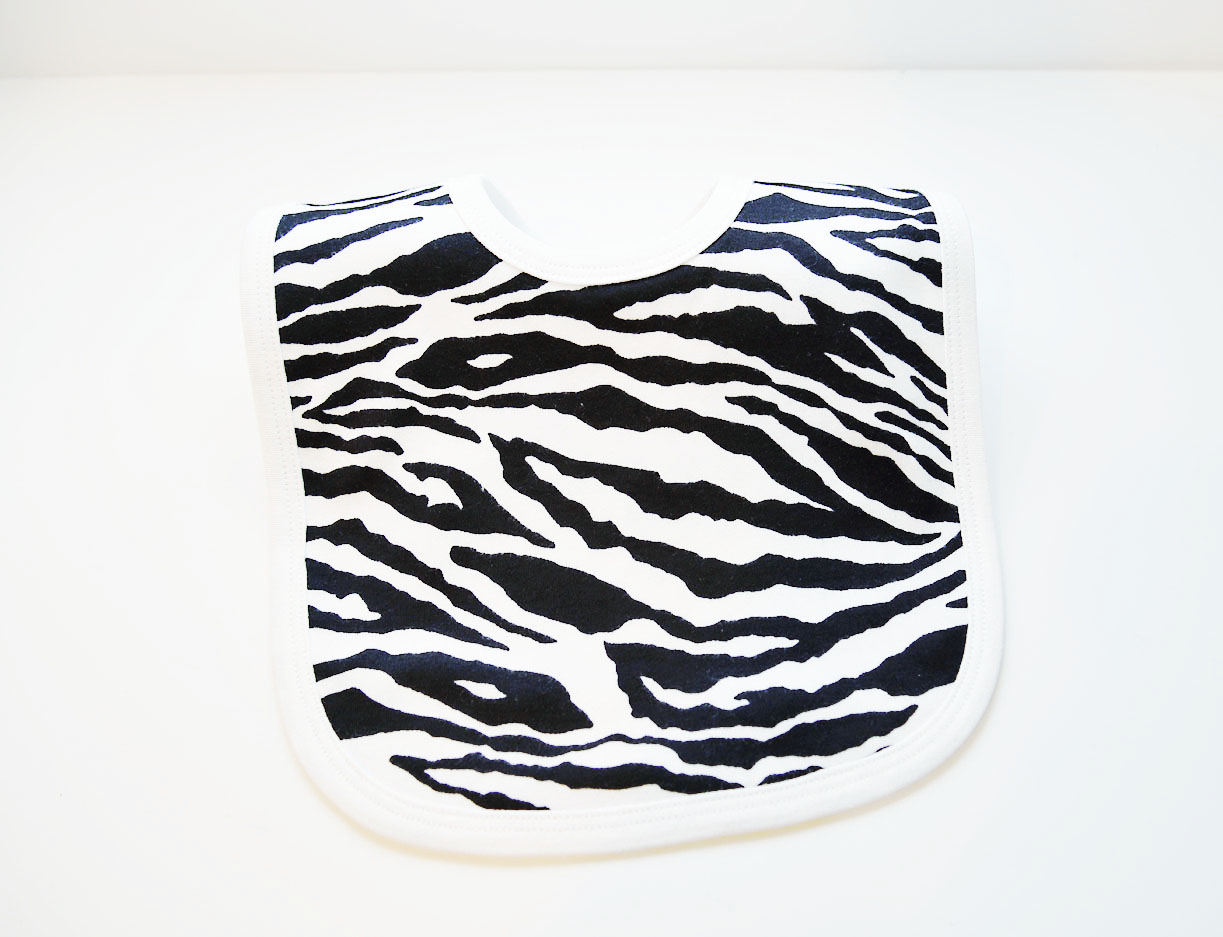 infant bib zebra print