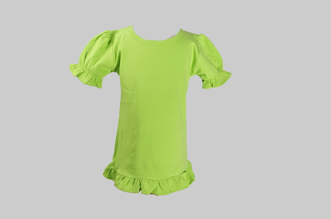 Green Toddler Girl Ruffle Tee Shirt