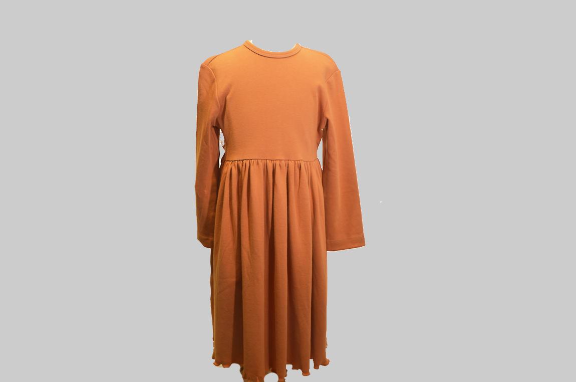 burnt orange color toddler dress waist line tie back