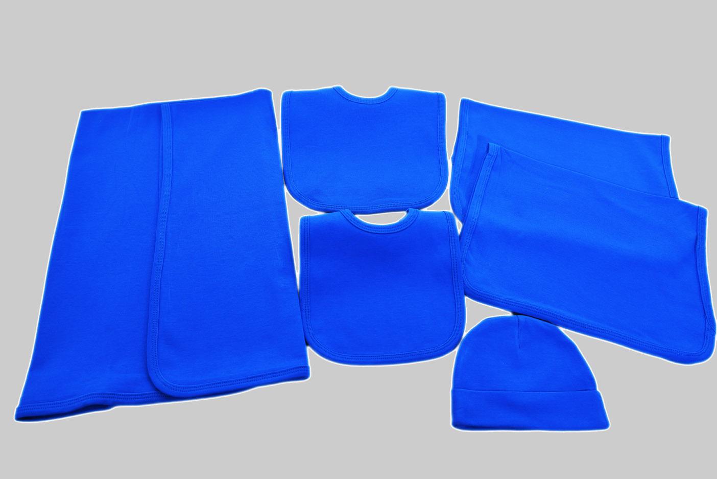 french blue baby bib, burp cloth & receiving blanket