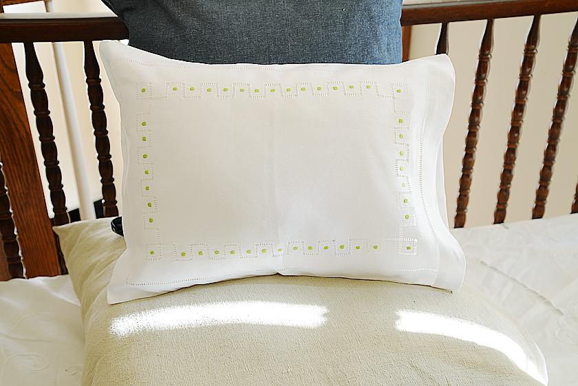hemstitch green polka dots baby pillowcases