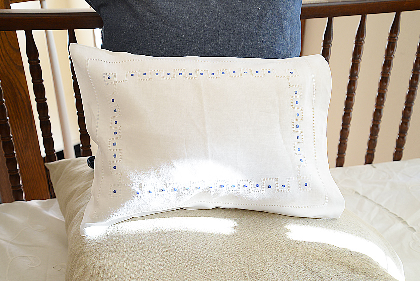 Hemstitch French Blue Polka Dots Baby Pillow cases
