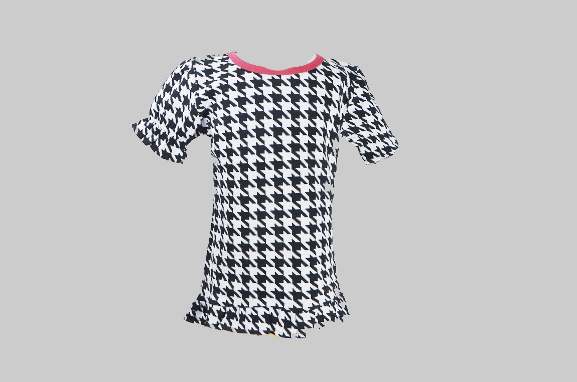 Houndstooth Red Trim Toddler Girl Shirt