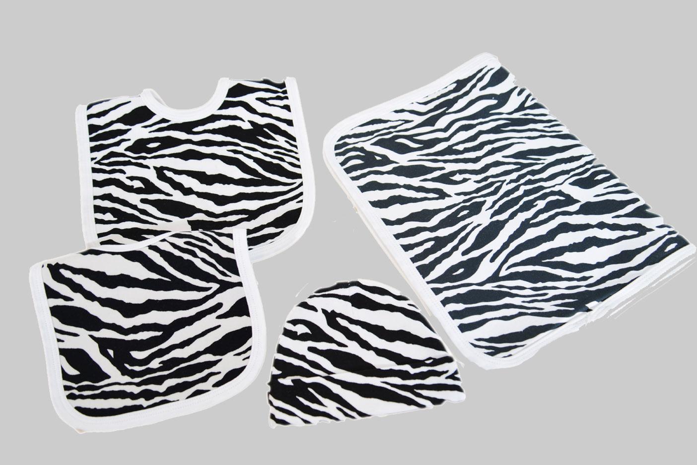 zebra bib burp cap set