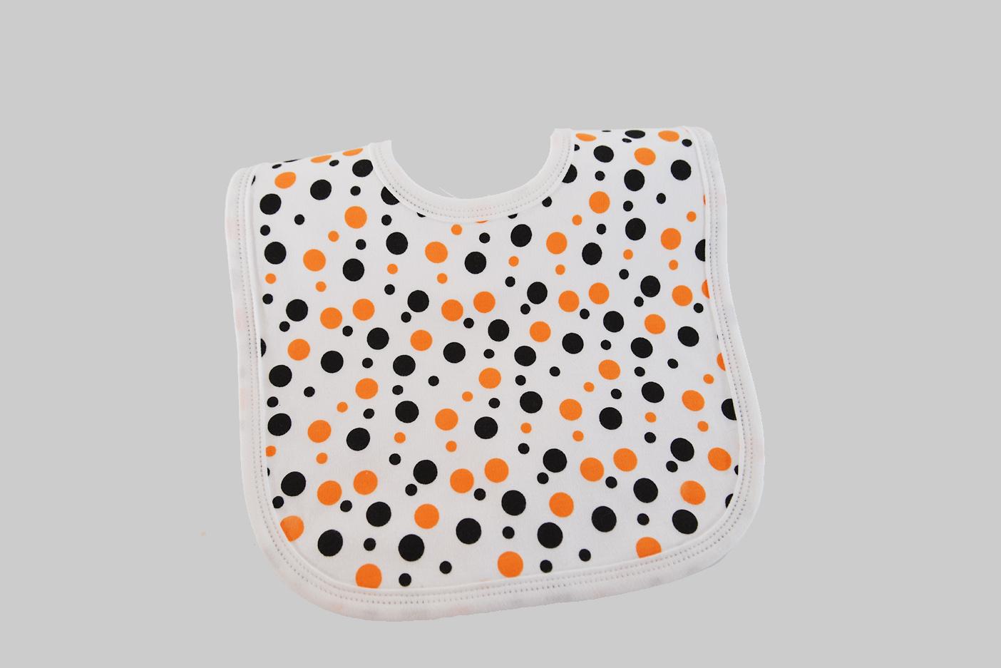 Orange & black dots, baby bib