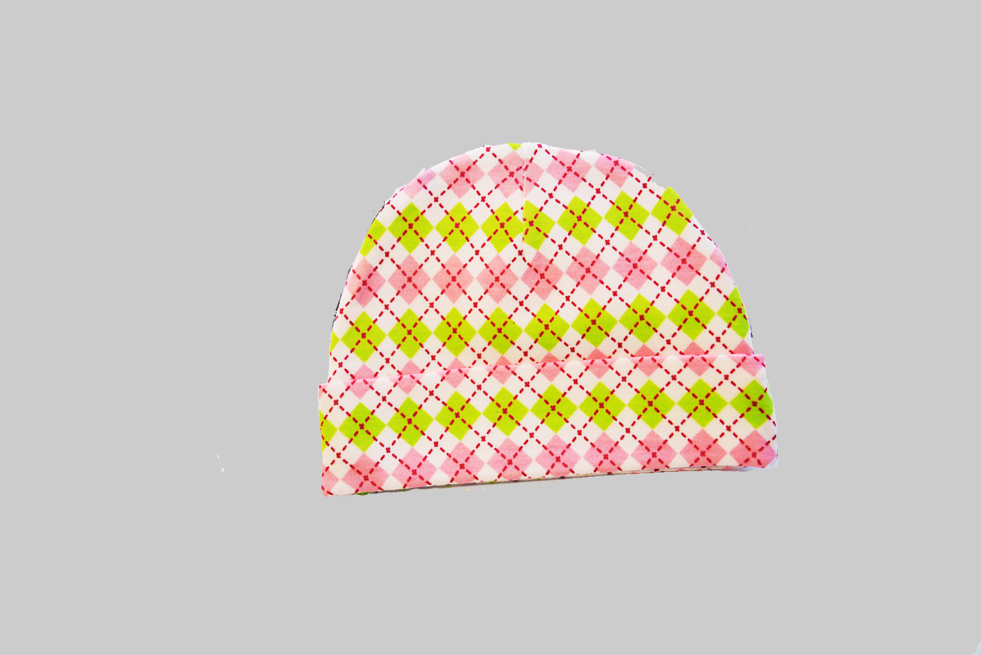 Pink & Green Argyle baby cap