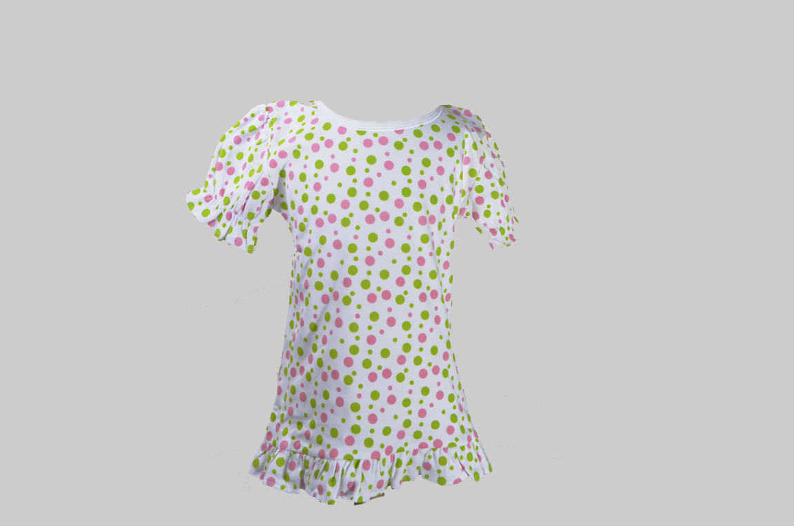pink & green polka Dots Toddler Girl Ruffle Tee Shirt