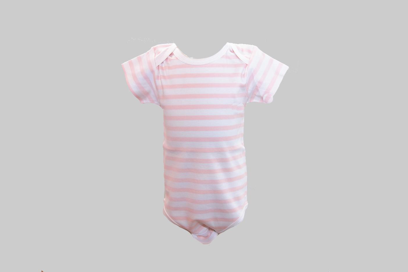 Soft Pink Color Stripe Baby Jumpsuit