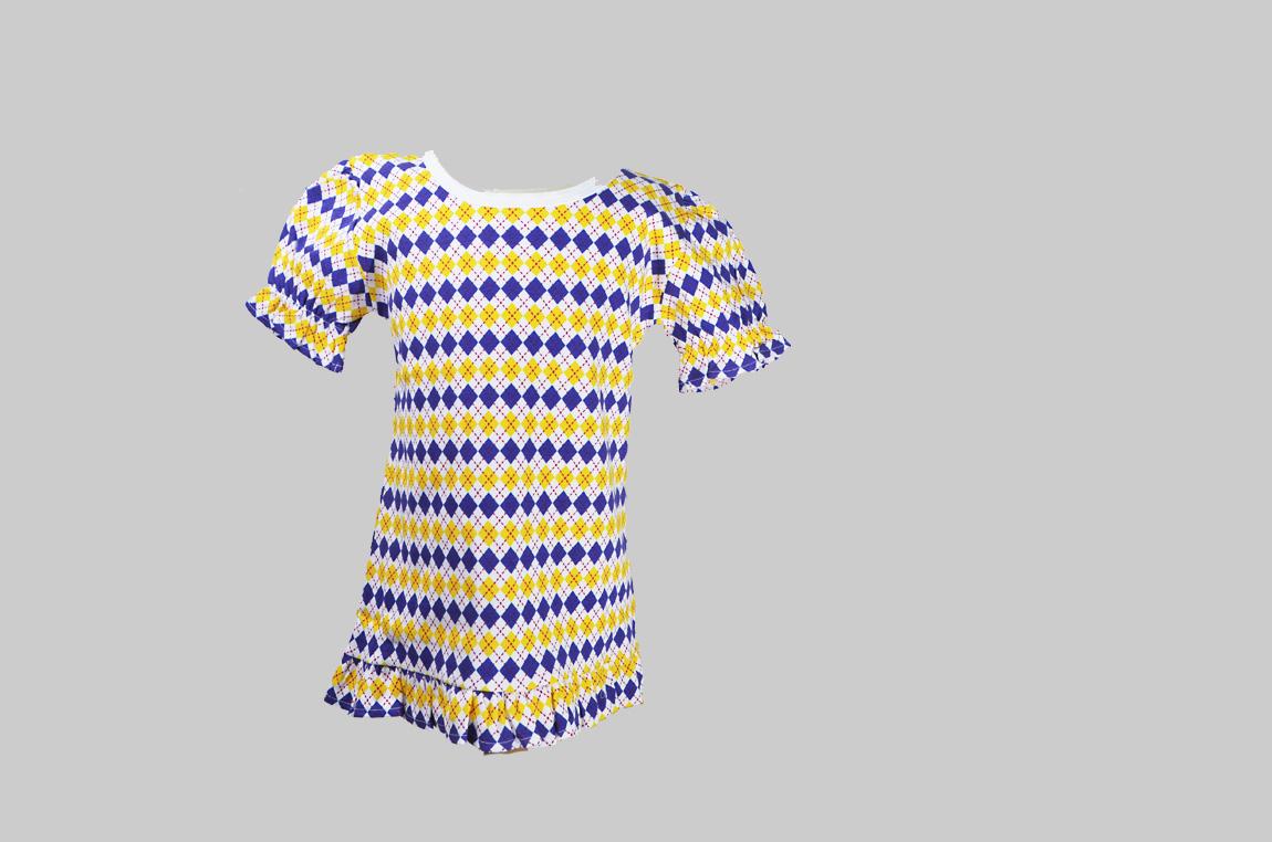 purple & Gold Argyle Ruffle Tee Shirt