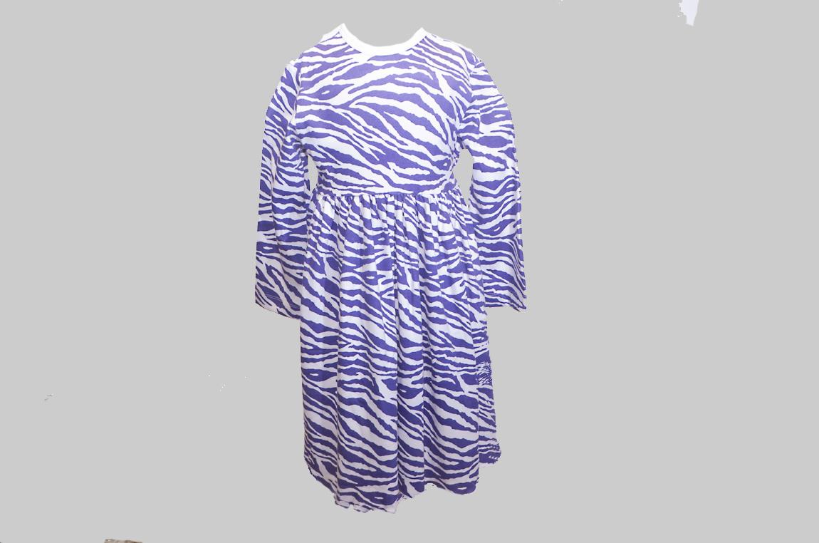 Purple Zebra Dress. Toddler. Waist Line Tie Back