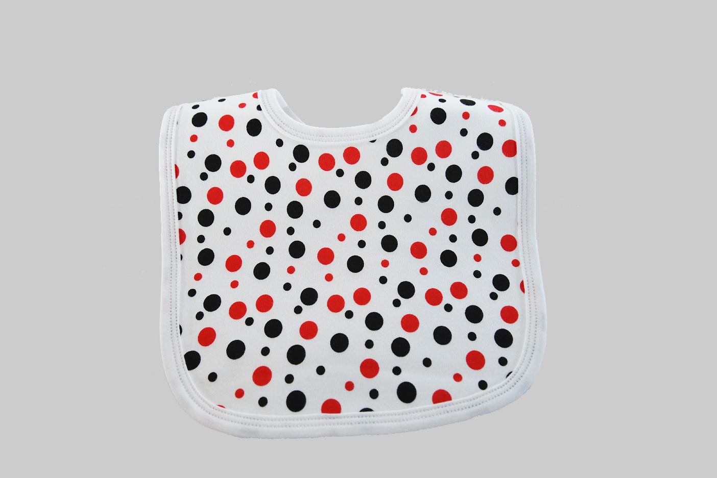 Red & Black dots baby bib