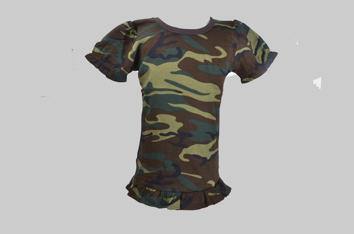 Camouflage Toddler Girl Ruffle Shirt