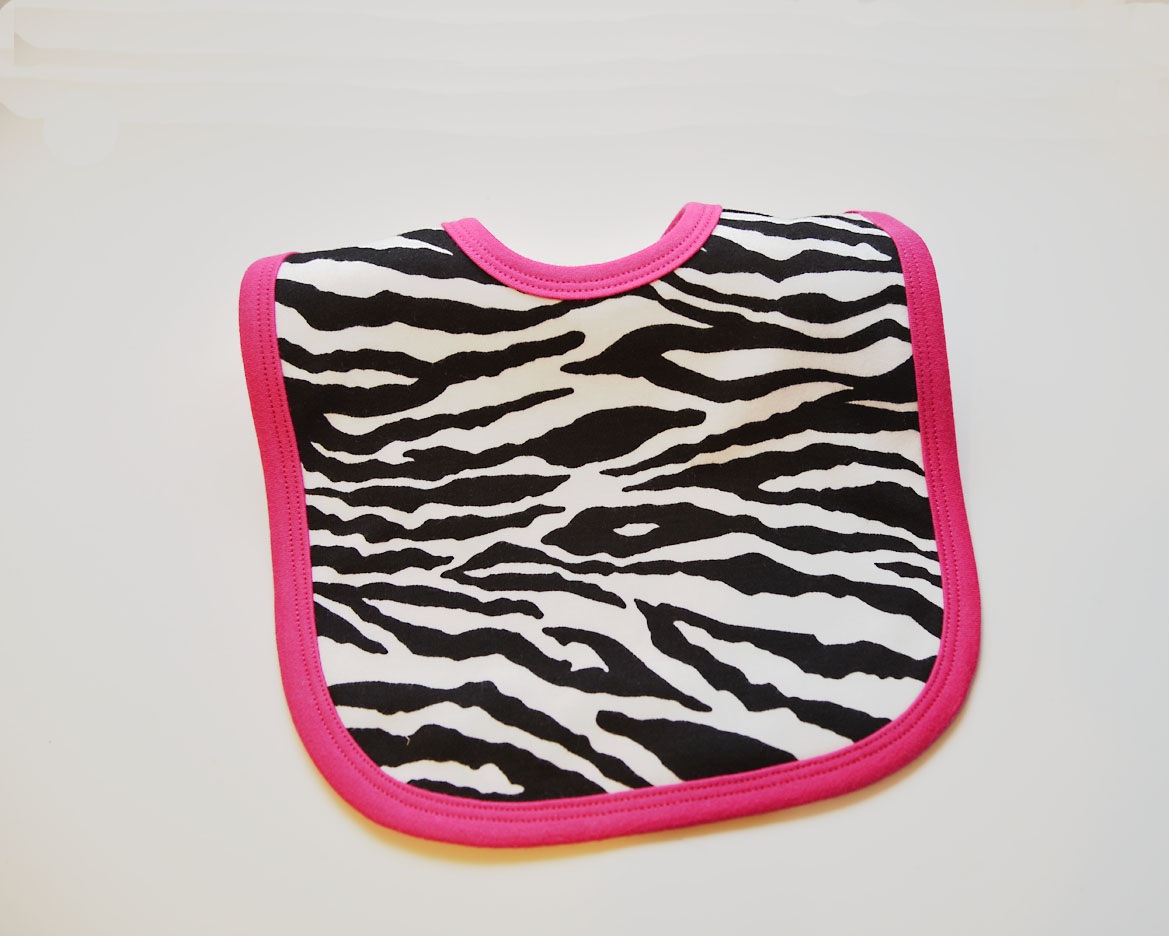 Toddler Bibs, zebra fuchsia trim