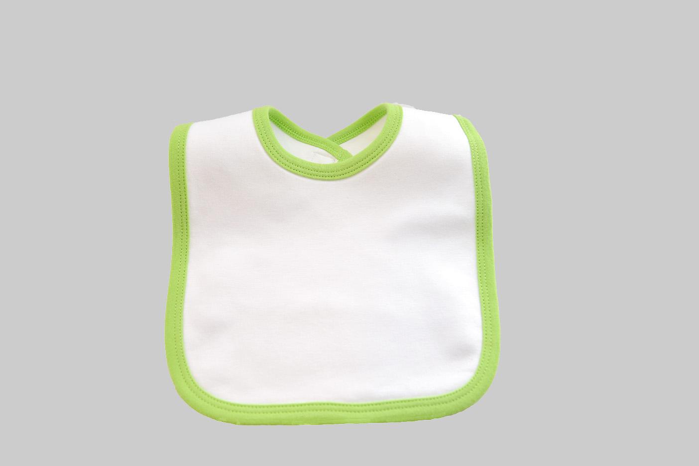 White & Bright Lime Green Baby Bib