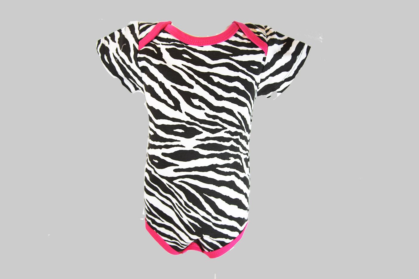 Zebra Pink Trim Baby Jumpsuit