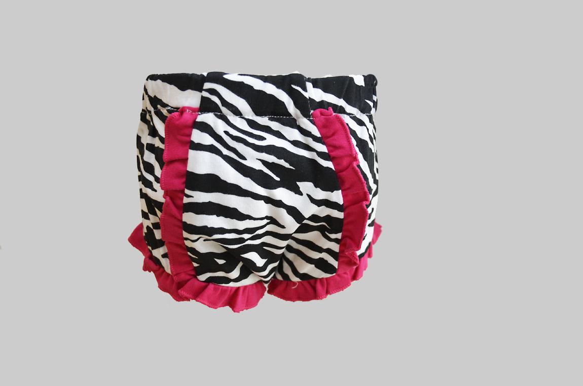 Zebra Pink Trim Baby Bloomer